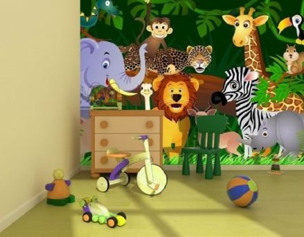 Wild animals in the Jungle wall mural